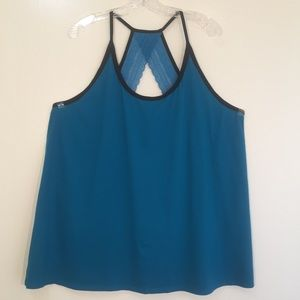 Cacique blue and black lace back thank top sz 24